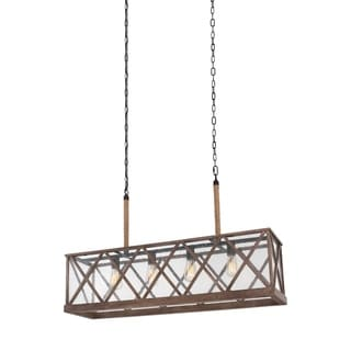 Feiss Lumiere 4 Light Dark Weathered Oak / Oil Rubbed Bronze Chandelier