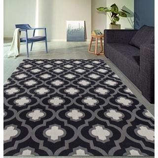 Moroccan Trellis Pattern High Quality Soft Dark-Gray Area Rug (5'3 x 7'3)