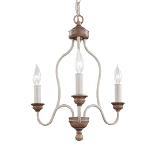 Feiss 3 Light Chalk Washed / Beachwood Chandelier
