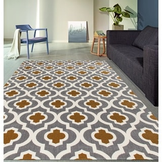 Moroccan Trellis Pattern High Quality Soft Dark Gray-Yellow Area Rug (5'3 x 7'3)