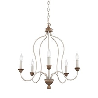 Feiss 5 Light Chalk Washed / Beachwood Chandelier