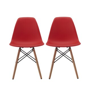 Modern EAMES Style Chair Natural Wood Legs in Color White, Black and Red Dining Chairs (Set of 2)