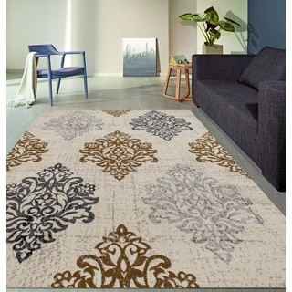 Transitional Damask High Quality Soft Yellow Area Rug (5'3 x 7'3)