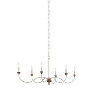 Feiss 6 Light Chalk Washed / Beachwood Chandelier