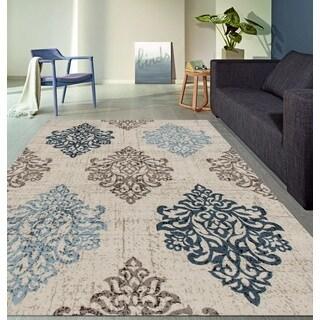 Transitional Damask High Quality Soft Blue Area Rug (5'3 x 7'3)