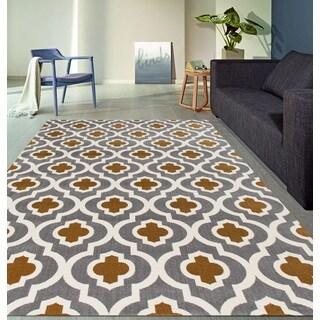 Moroccan Trellis Pattern High Quality Soft Dark Gray-Yellow Area Rug (2' x 7'2)