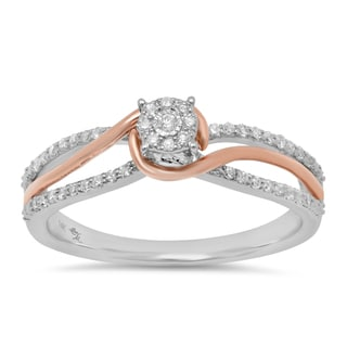 Sterling Essentials 14k White and Rose Gold 1/5ct TDW Diamond Engagement Ring (I, I1-2)