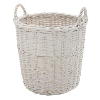 White Wicker 17.5-inch x 19.5-inch Handled Basket