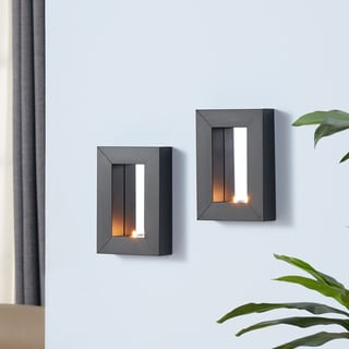 Danya B Set of 2 Mirror Tealight Candle Sconces with Metal Frame