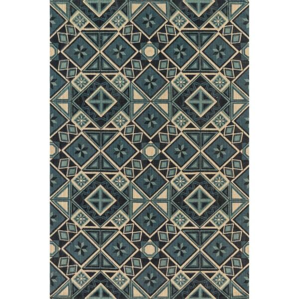 Printed Flatweave Brooke Blue/ Multi Rug (3'6 x 5'6)