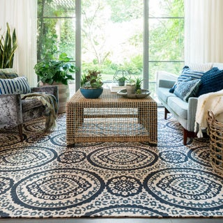 Printed Flatweave Brooke Natural/ Navy Rug (7'9 x 9'9)