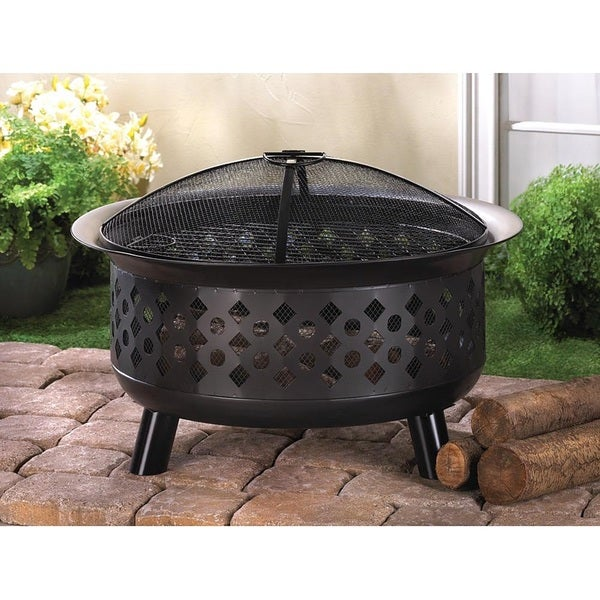 Meron Black Iron Cut-out Fire Pit