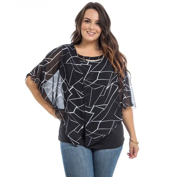 JED Women's Plus Size Black Chiffon Kimono Overlay Blouse