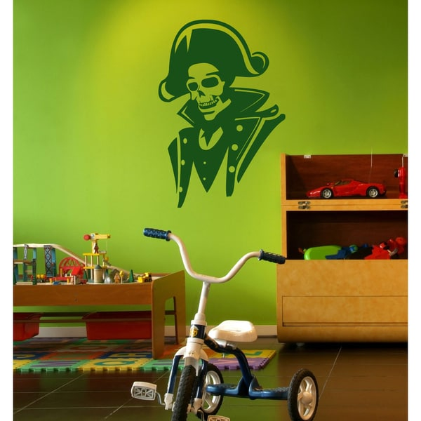 Skeleton pirate sailor Wall Art Sticker Decal Green
