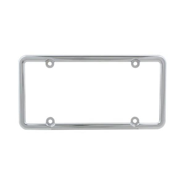 Pilot Automotive Chrome Square Top 4-Hole Mount License Plate Frame for Vehicles Automobile