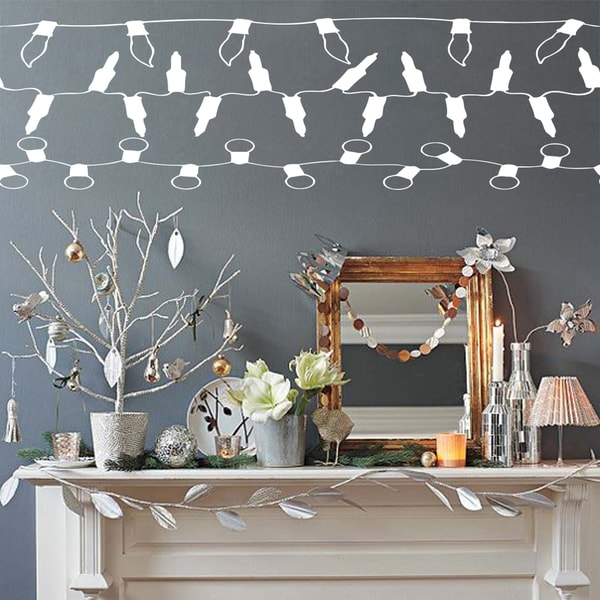 Garland light bulbs celebration decoration Wall Art Sticker Decal White
