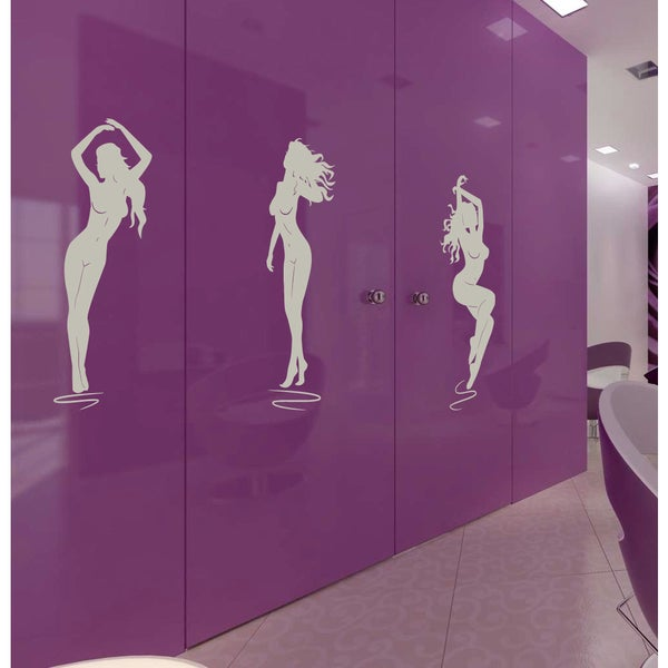 Nude girl Wall Art Sticker Decal Silver