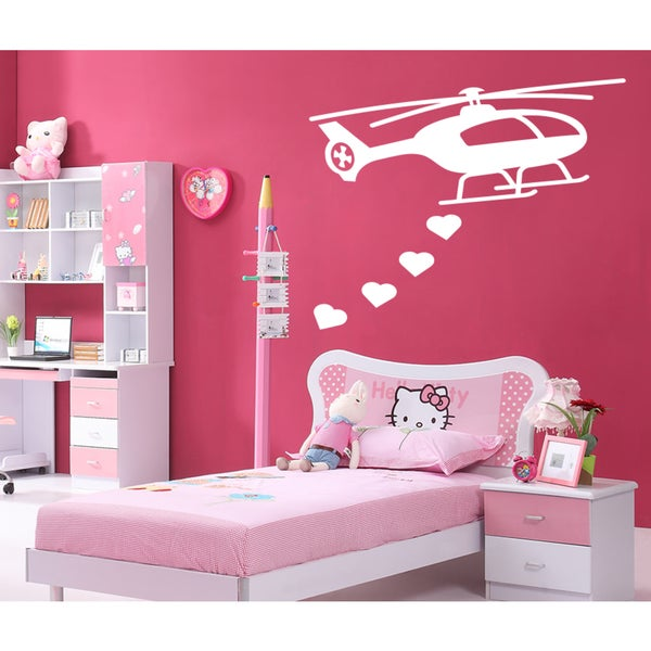 Helicopter heart flight a toy Wall Art Sticker Decal White