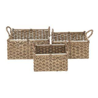 Benzara Attractive Sea Grass Basket (Set of 3)