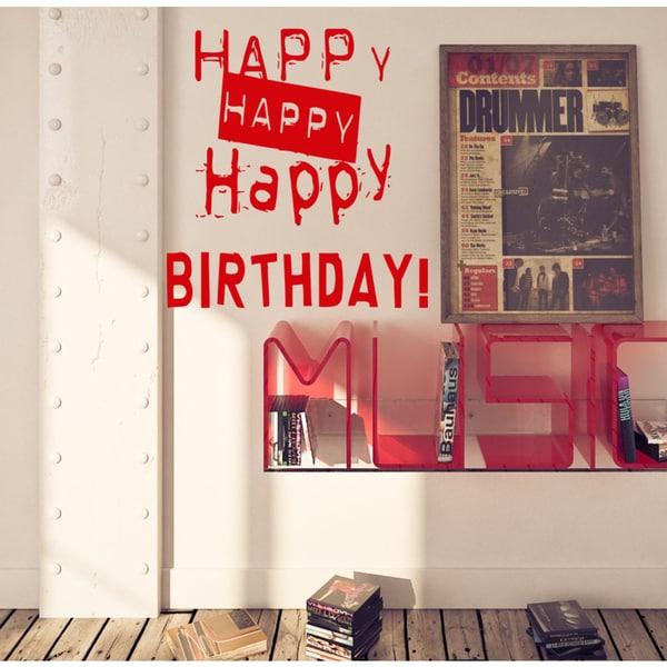 Happy Happy Birthday Wall Art Sticker Decal Red