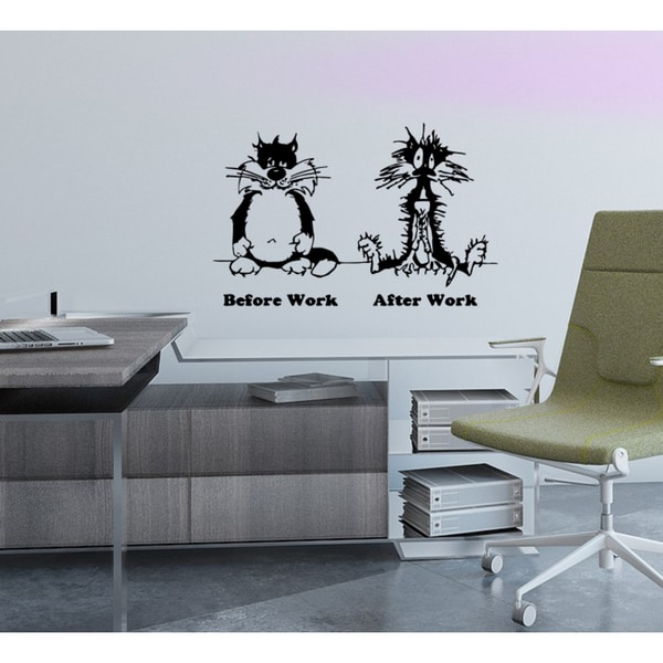 Before work after work cat animal Wall Art Sticker Decal