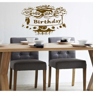 Cake with flowers birthday Wall Art Sticker Decal Brown