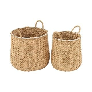 Benzara Wood Multi-Colored Baskets (Set Of 2)