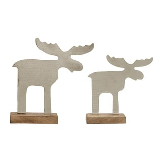 Benzara Contemporary Styled (Set of 2) Metal Wood Reindeer