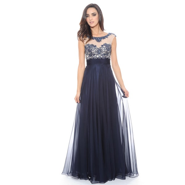 Decode 1.8 Women's Navy Beaded Illusion Long Dress