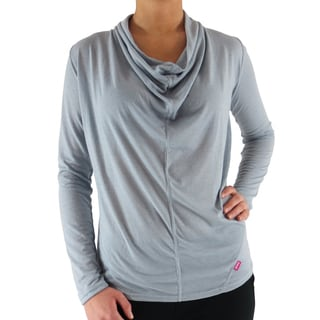 Women's Silver Rayon Draped Neck T-shirt