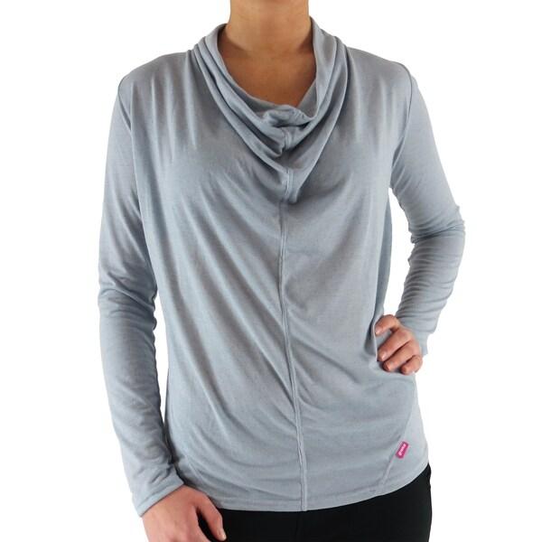 Women's Silver Rayon Draped Neck T-shirt