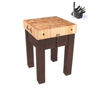 John Boos Cream-finished Wood Steamer-style Roast Table with Bonus Henckels 13-piece Knife Set