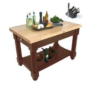 John Boos Tuscan Isle Walnut Stain 72-inch x 32-inch Block Table With 13-piece Henckels Knife Set