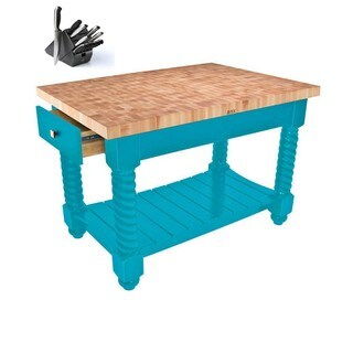 John Boos TUSI5432225EG-CB Tuscan Isle Boos Blue Wood Block Table 54x32 & Bonus Henckels 13 Pc Knife Set