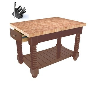 John Boos Walnut Brown Wood Isle Table with Henckles Knife Set