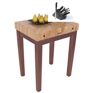 John Boos Natural Wood Chef's Block Butcher Block Table With Bonus Henckels 13-Piece Knife Set