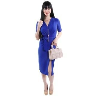 Hadari Women's Deep V-Neck Sheath Fashion Dress