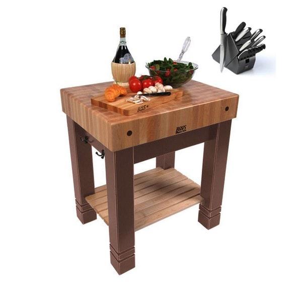 John Boos 30x24 American Heritage Butlers Block Walnut Stain Table CU-BB3024-WT & Bonus 13-piece Henckels Knife Set