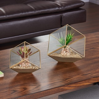Danya B 7-inch Cube Brass and Glass Terrarium