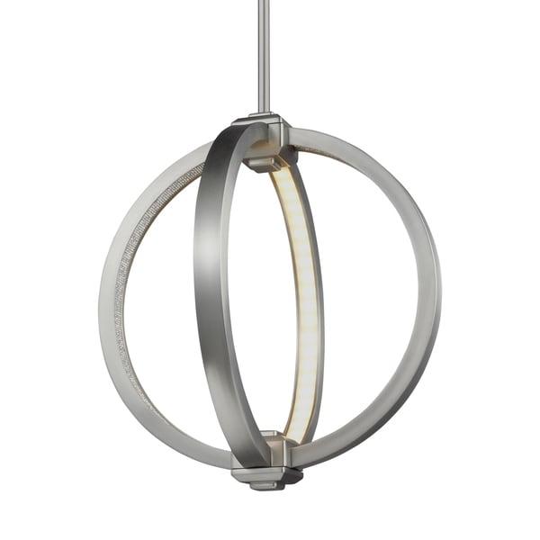 Feiss Globe 12-inch LED Globe Pendant Satin Nickel Pendant