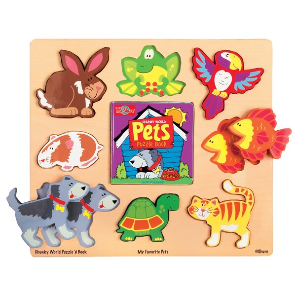 TS Shure Chunky World My Favorite Pets Wooden Puzzle and Book