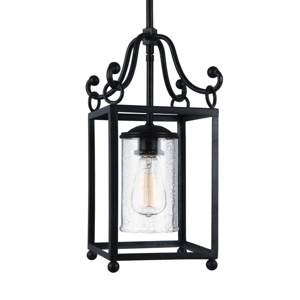 Feiss Mini One Light Antique Forged Iron Pendant Free Shipping Today Overstock Com