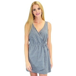 Women's Relished Wrap Me Up Blue Cotton/Polyester Dress