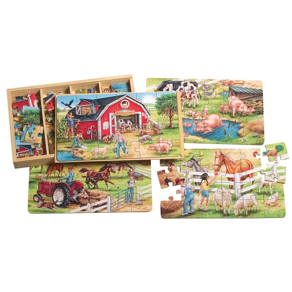 TS Shure 4 Large Farm Puzzles in a Wooden Box