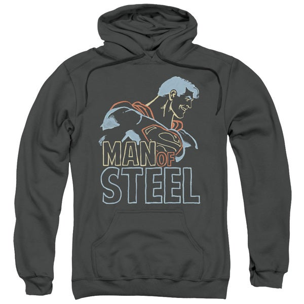 Superman/Colored Lines Adult Pull-Over Hoodie in Charcoal