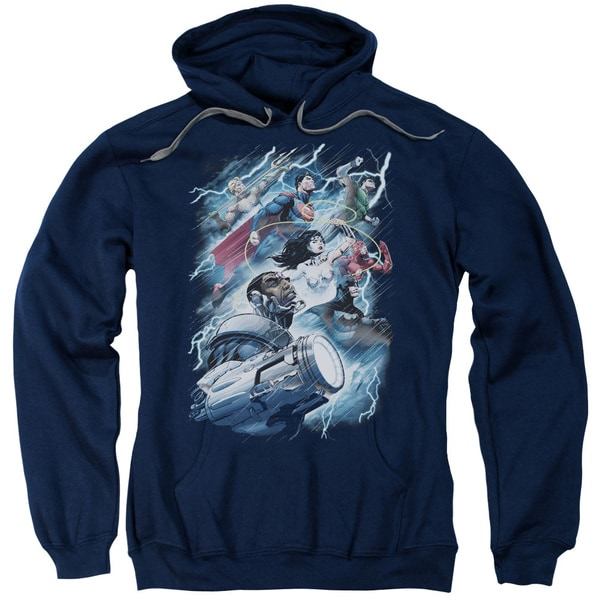 JLA/Ride The Lightening Adult Pull-Over Hoodie in Navy