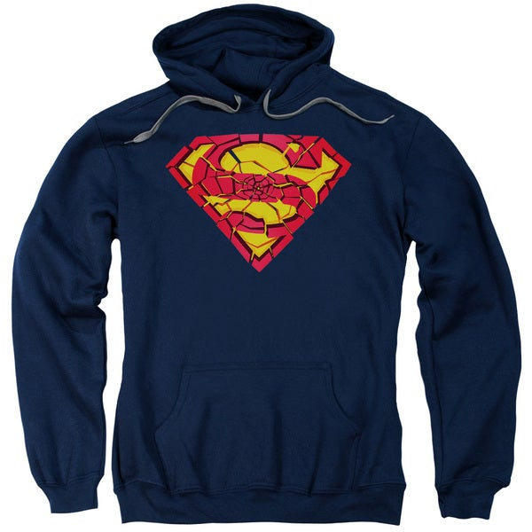 Superman/Shattered Shield Adult Pull-Over Hoodie in Navy