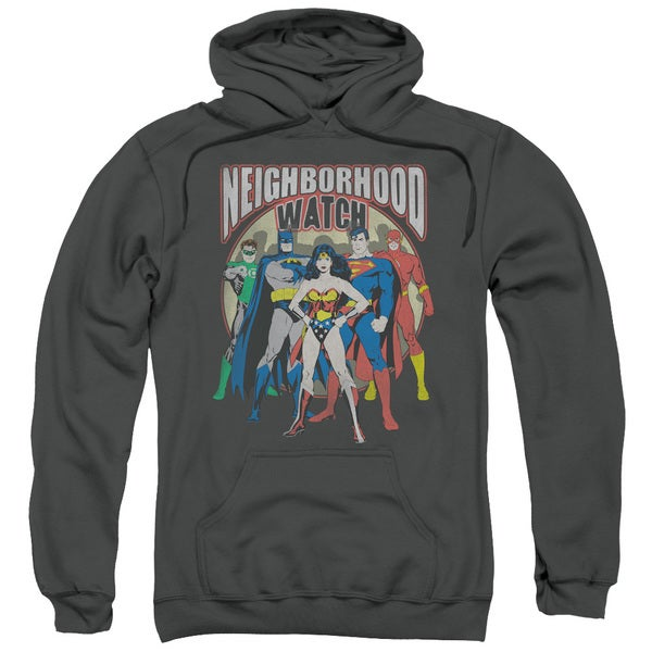 JLA/Neighborhood Watch Adult Pull-Over Hoodie in Charcoal