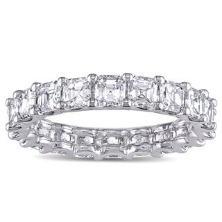 Miadora Signature Collection 18k White Gold 4ct TDW Asscher-cut Diamond Stackable Eternity Ring (F-G, VS1-VS2)