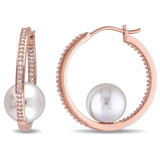 Miadora 14k Rose Gold Cultured Freshwater White Pearl and 1/2ct TDW Diamond Hoop Earrings (G-H, SI1-SI2) (10-10.5 mm)